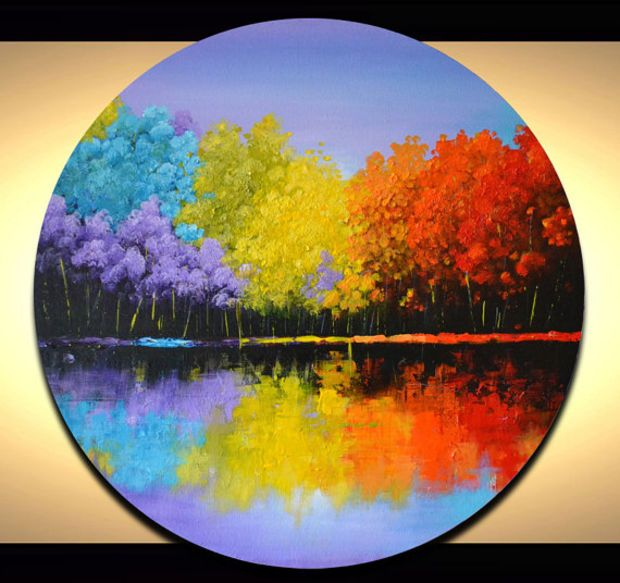 Colorful Abstract Landscape Painting Bright Trees Artwork Unique 20 Round Circle Canv Canvas Wall Art Contemporary Circle Canvas Abstract Landscape Painting