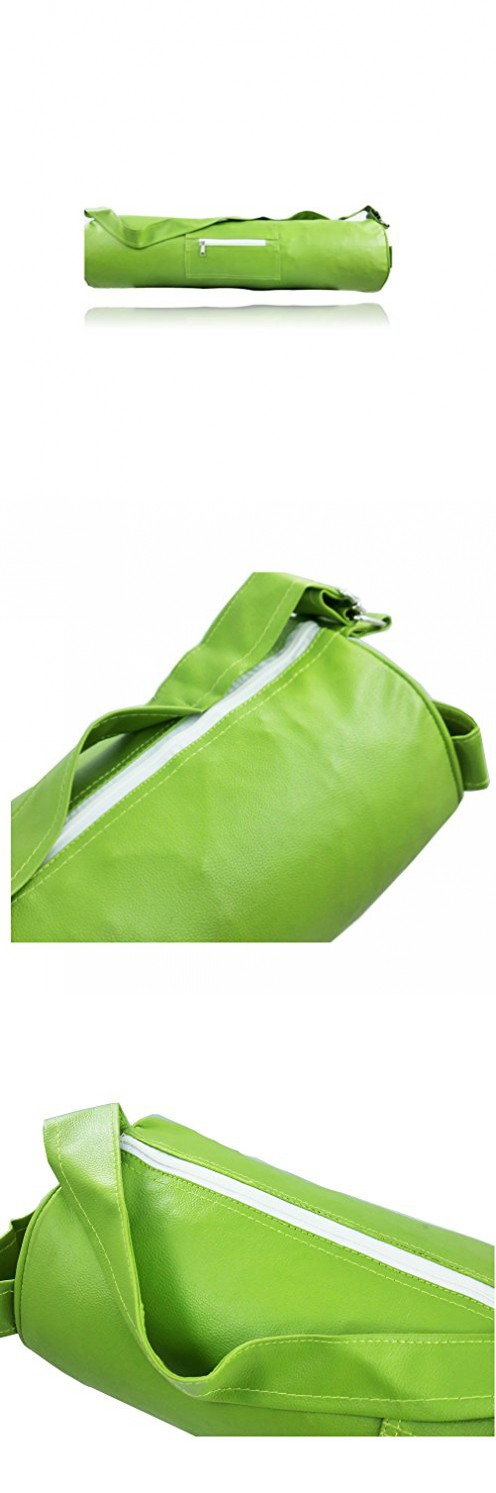 8bb7604424 Yoga Mat Bag Sturdy Vegan Leather Fits all Yoga Mats Travel Friendly (Green)