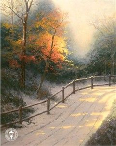 "Thomas Kinkade Signed and Numbered Limited Edition Hand Embellished Canvas: ""First Snow"" - Thomas Kinkade New Releases"