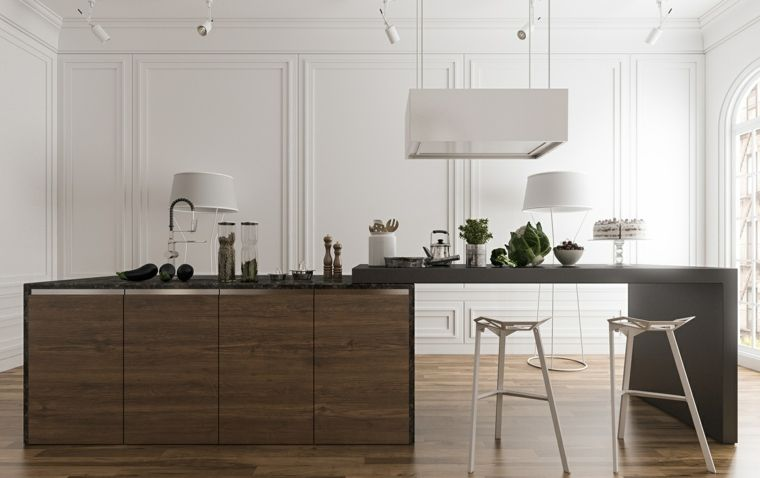 isla de madera oscura en la cocina moderna blanca | Cocinas ...