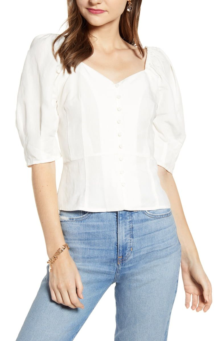 95be3557ba111 Something Navy Front Button Fitted Top (Nordstrom Exclusive ...