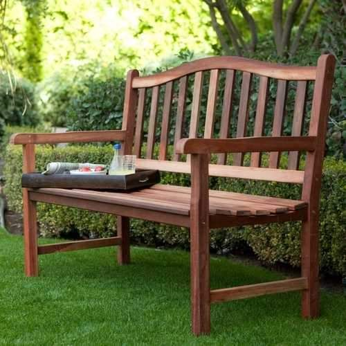 4-Ft Wood Garden Bench with Curved Arched Back and ... on Belham Living Richmond Bench id=92584