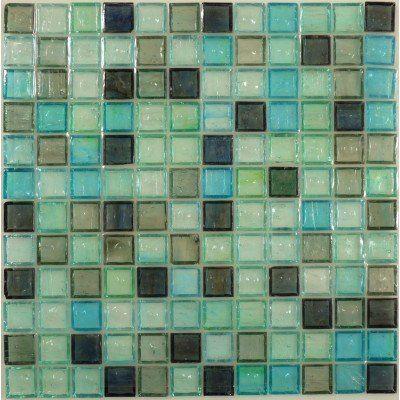 Green Green 1'' x 1'' Glass  Glossy Tile