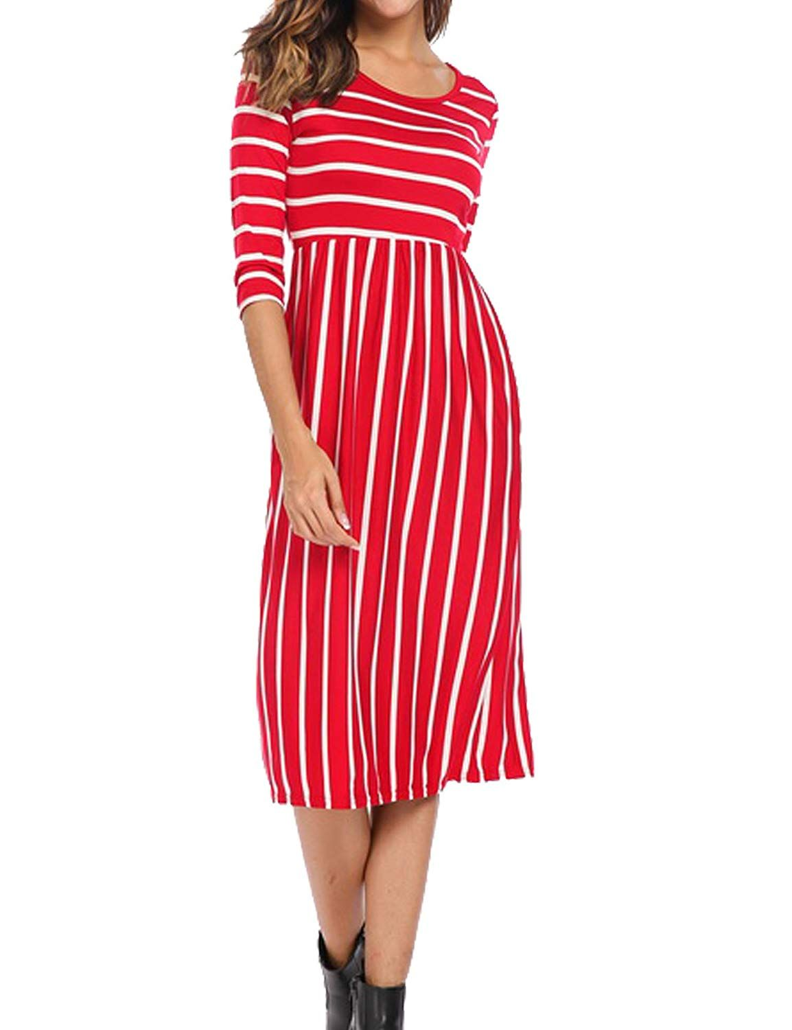 Halife Women S 3 4 Sleeve Stripe Elastic Waist Casual Dress With Pocket At Amazon Women S Clothing Store Striped Dress Outfit Casual Dress Maxi Dress Party [ 1500 x 1154 Pixel ]