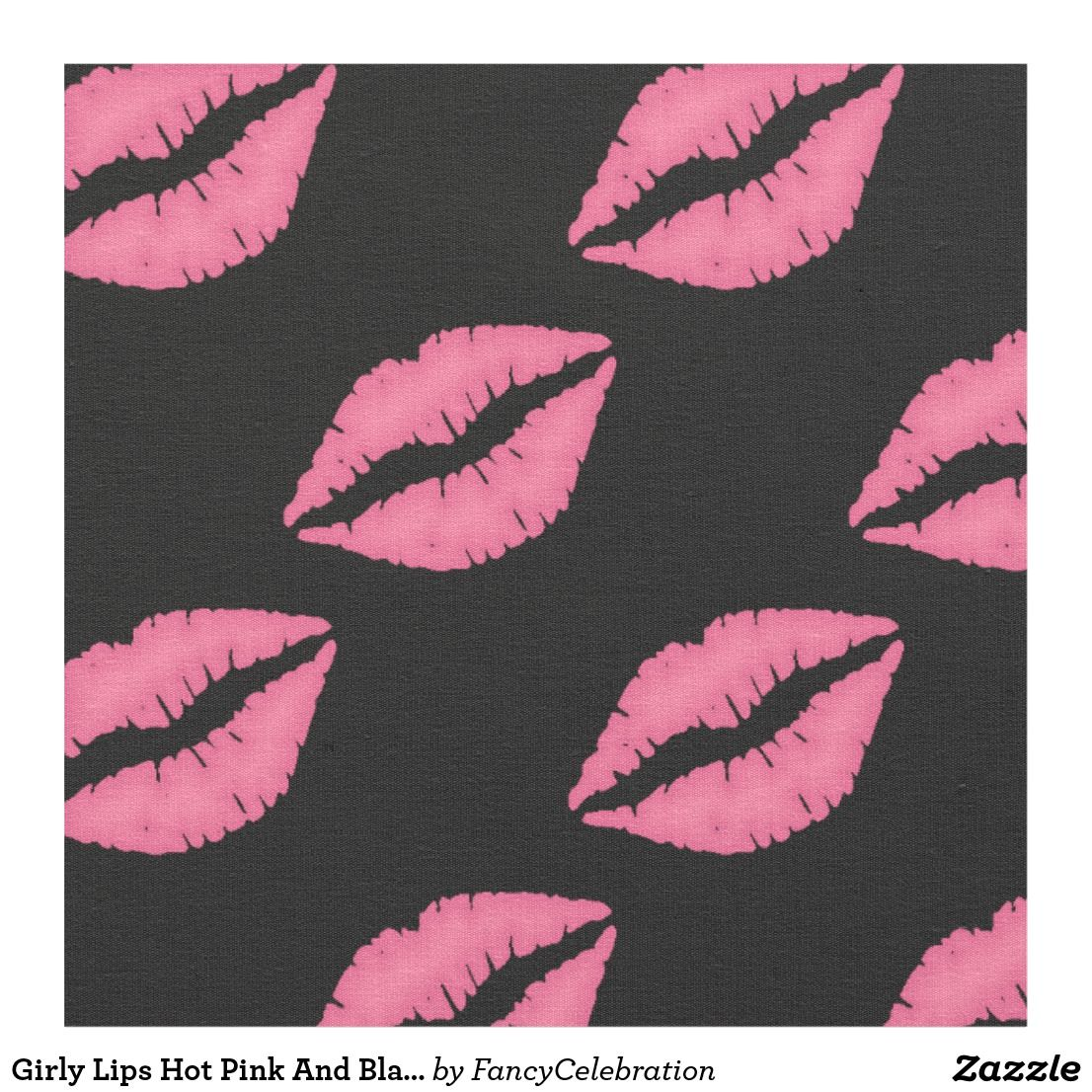 Girly Lips Hot Pink And Black Kiss Pattern Fabric in 2020