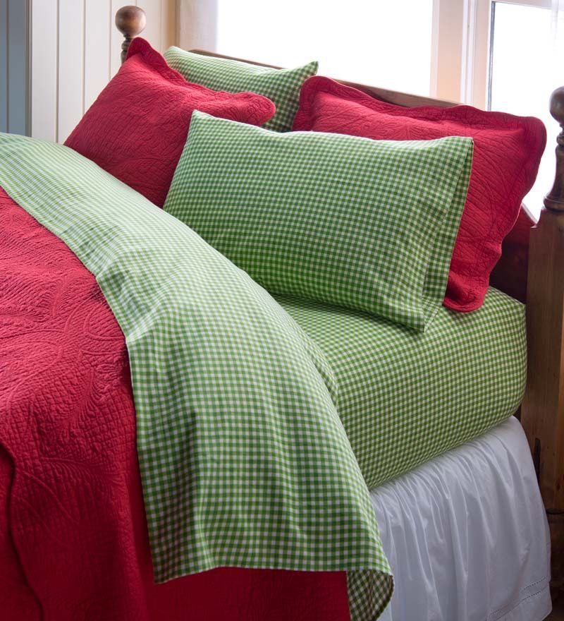 Gingham Cotton Flannel Sheet Set Red Or Green Cotton Flannel Bedding Accessories Gingham