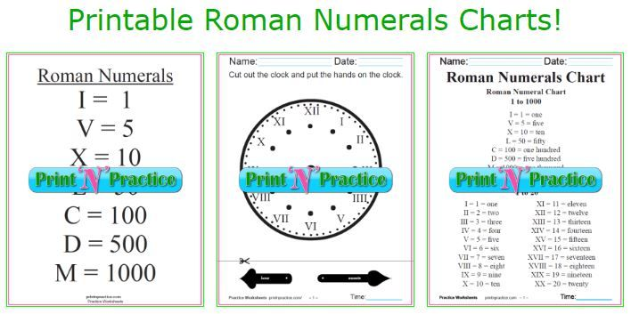 Roman Numerals Chart ⭐ Roman Numeral Conversion Worksheets poo