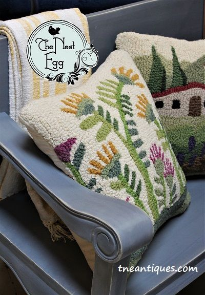 Some of our latest arrivals for Spring include wool, hand-hooked pillows and a variety of throws