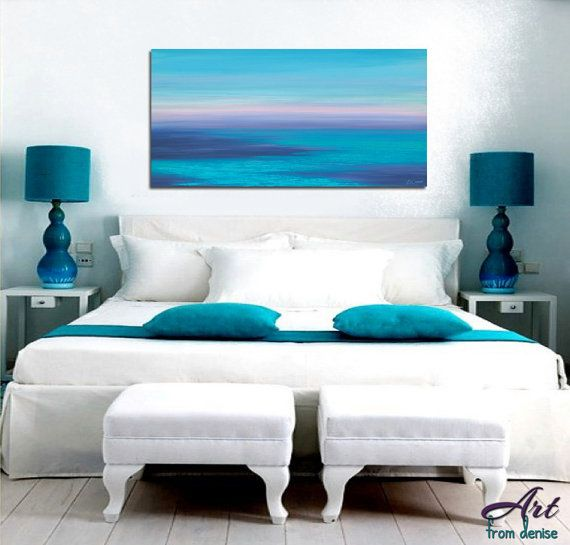 Seascape painting giclee fine art print teal navy blue violet wall art sunset artwork navy teal bedroom decor living room office teal blue
