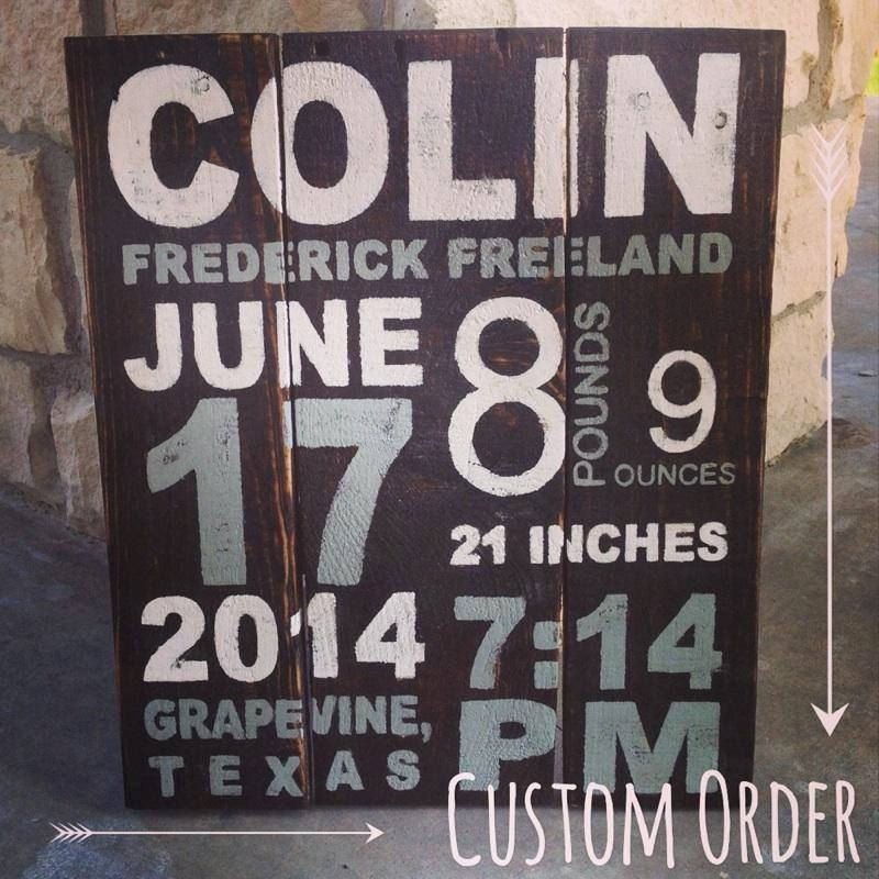 Personalized Birth Stats on Reclaimed Wood by