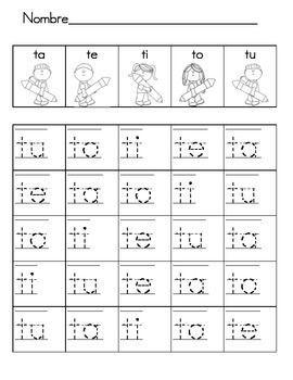 free silabas para leer y pintar con ta te ti to tu silabas kindergarten escritura preescolar. Black Bedroom Furniture Sets. Home Design Ideas