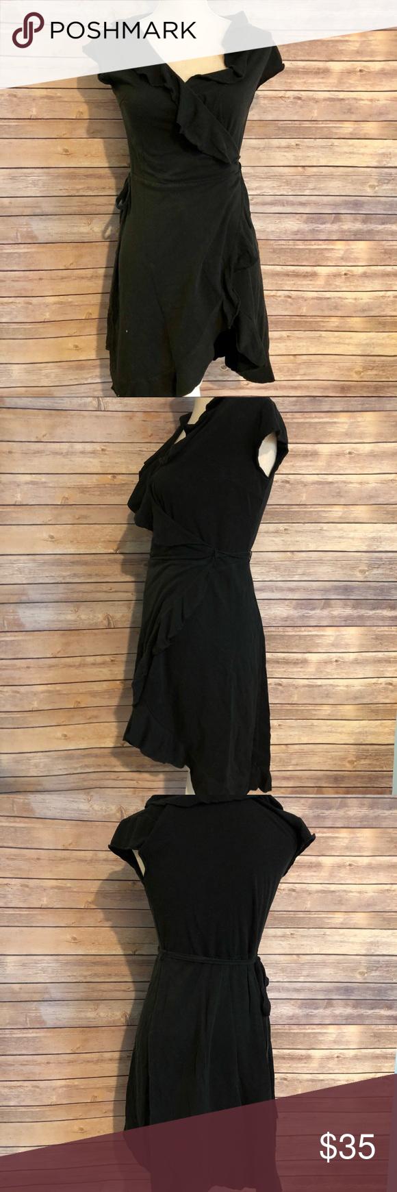 Free people black wrap dress size medium d my posh picks