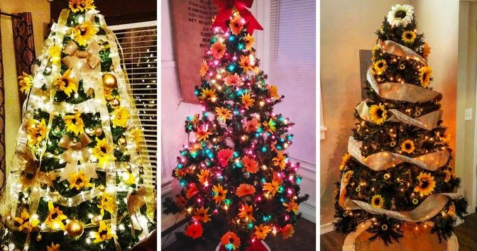 "A New Trend to Decorate Christmas Trees With Sunflowers Is Making Everyone Go ""Wow"" #sunflowerchristmastree"