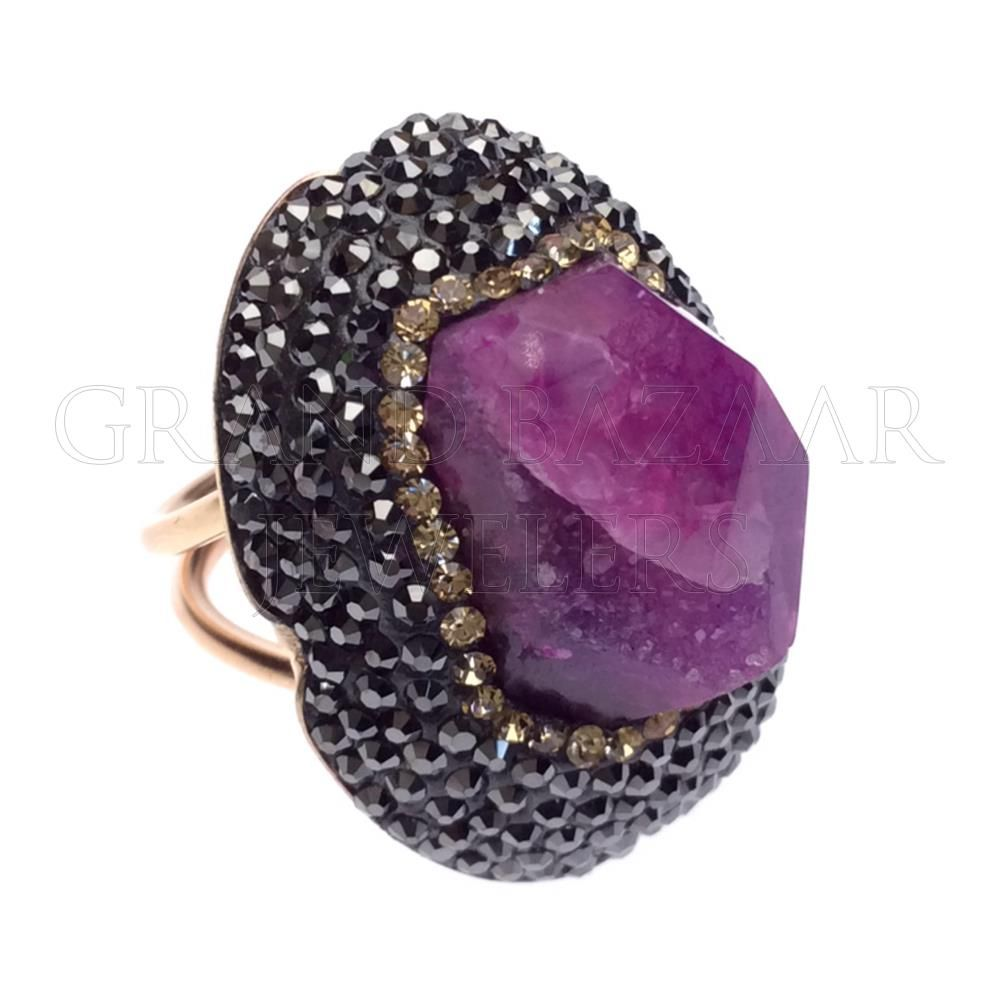 Druzy raw crystal gemstone rings turkish jewelry handmade by jewelers artisans of the grand bazaar in istanbul turkey gbj1455 ethnic jewelry online shop