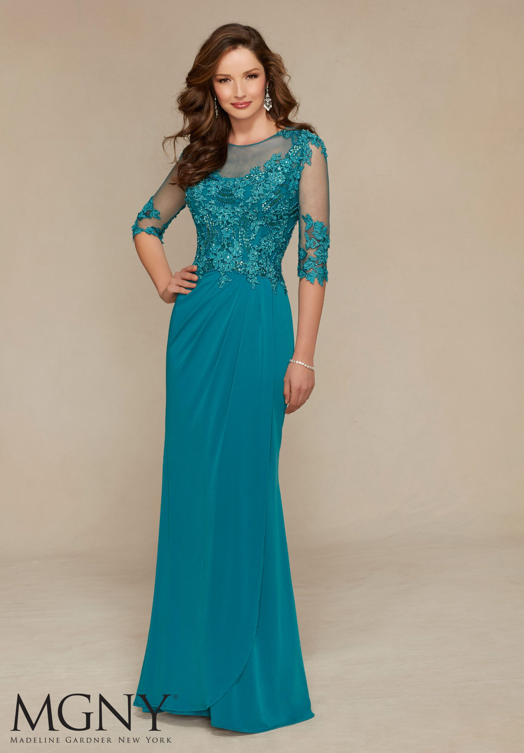 Evening gown jersey with venice lace appliqu s and beading