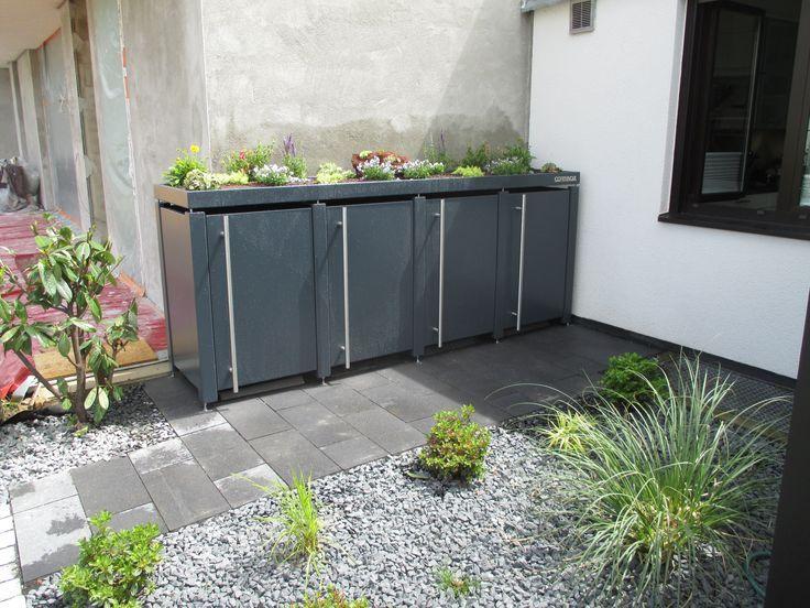 4 er Mülltonnenbox antharzit mit türhohen Edelstahlgriffen