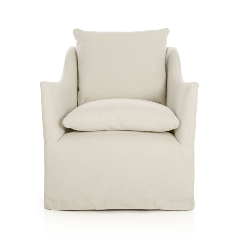 Charmant Serene Slipcovered Swivel Chair | Crate And Barrel $1,499