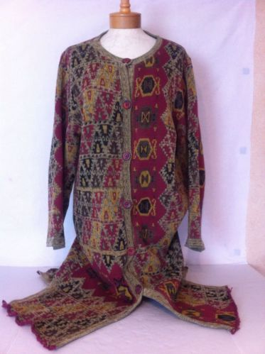 Soft Surroundings Women's Tapestry Design Sweater Coat Size Large