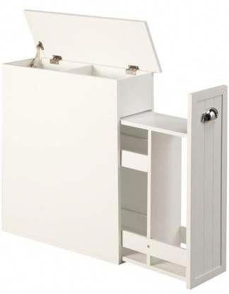 OakRidge Slim Bathroom Storage Cabinet with Slide-Out Shelf & Hinged Lid, 7-In. Wide, White - Walmart.com