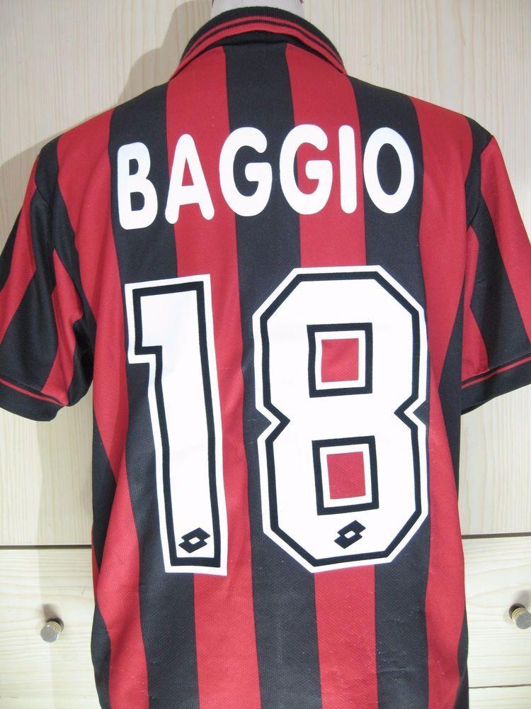 e613aff10f3f3 ROBERTO BAGGIO AC MILAN 1995 96 HOME ITALY LOTTO FOOTBALL SHIRT SOCCER  JERSEY S | eBay