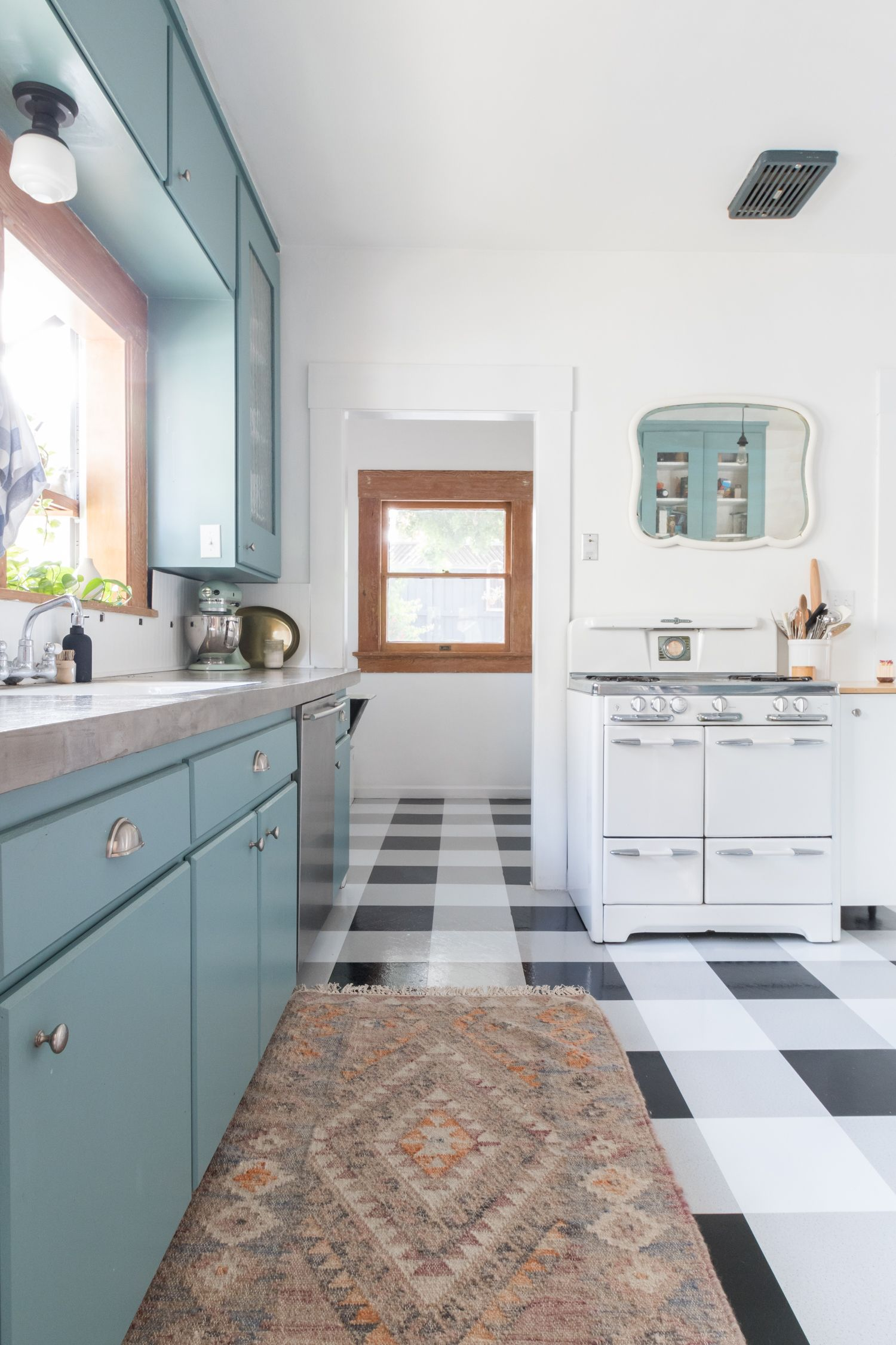 The Gold Hive Kitchen   Blue Cabinets, Black And White Buffalo Check Floors
