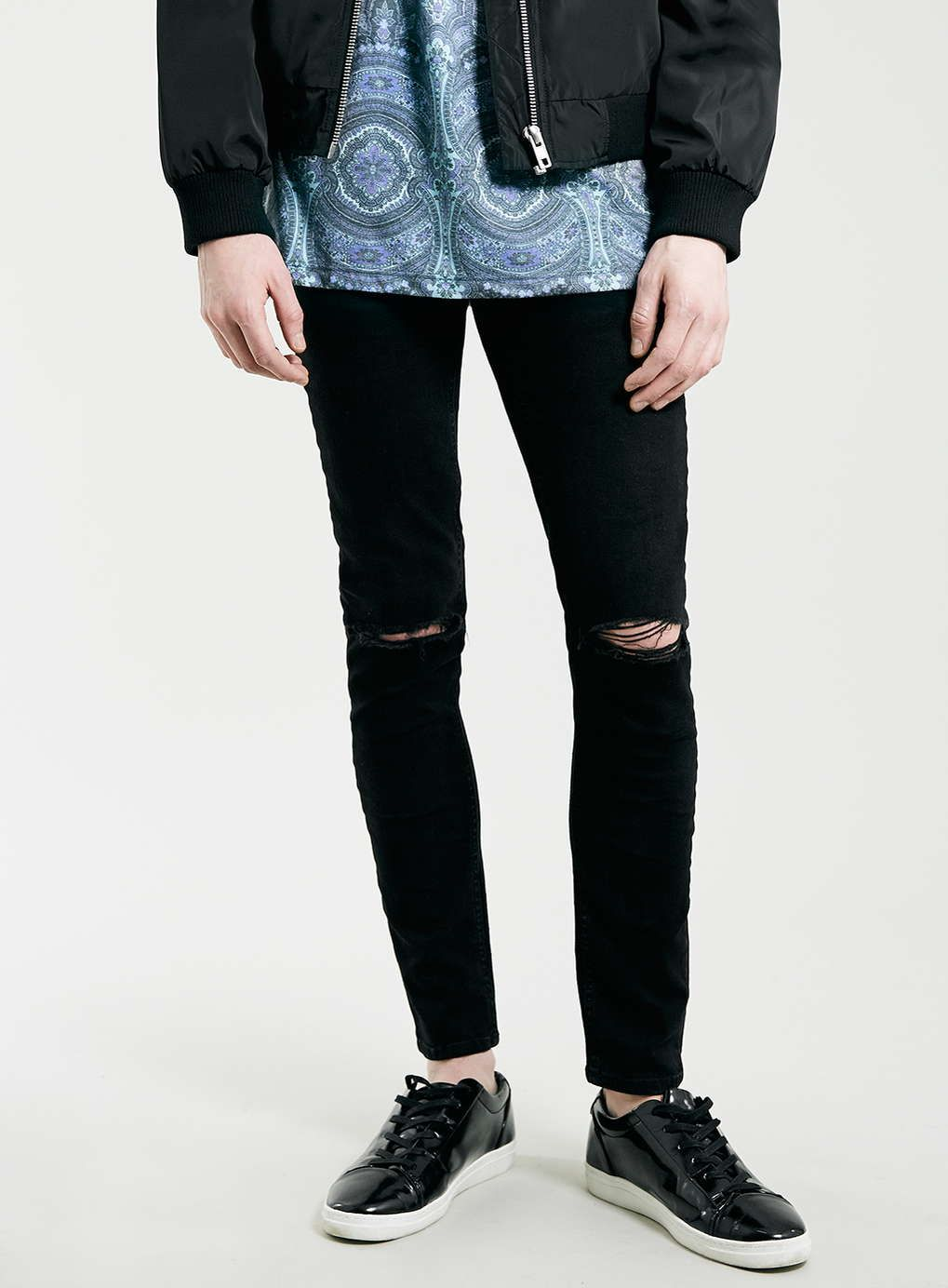 97cd30b7dd9 Black Ripped Knee Stretch Skinny Fit Jeans - Jeans - Clothing ...