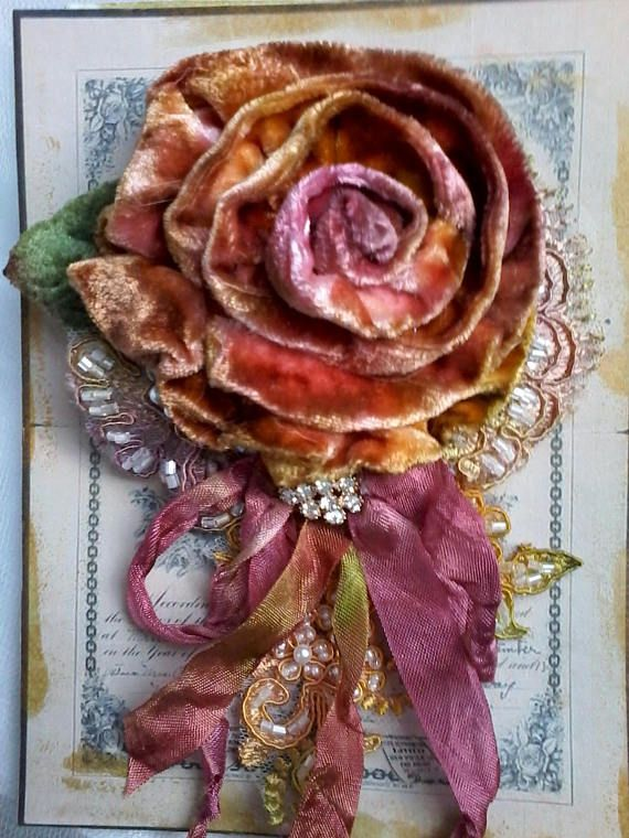 0869ca85ccb fall velvet rose shabby brooch corsage hair accessory | Bows/flowers ...