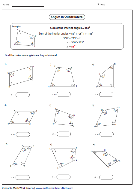 Missing angle-quadrilaterals | Angles worksheet, Geometry ...
