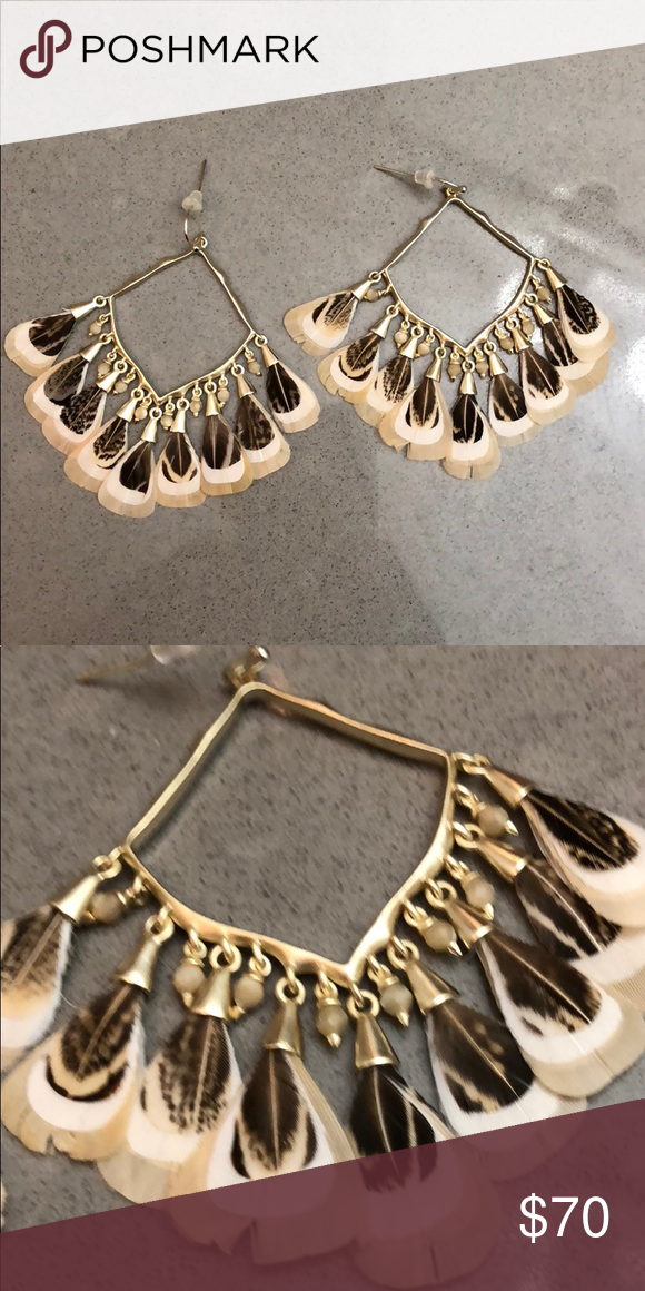 dd124582b Kendra Scott Raven earrings - gold and tan/brown Kendra Scott Raven earrings  in gold with tan and brown feathers. Perfect conditions, worn once Kendra  Scott ...