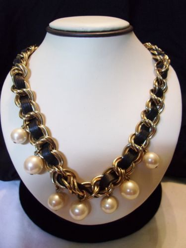 CAROLEE-Couture-Fashion-Necklace-Faux-Large-Glass-Pearl-Leather-Gold-Plate-Link  Purchase from http://stores.ebay.com/theglitterbug