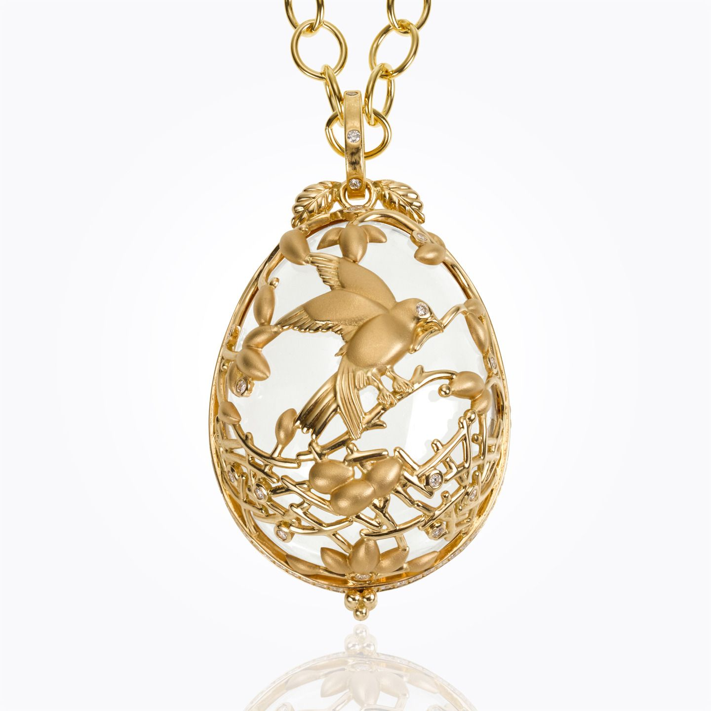 Temple st clair 18k volo rock crystal pendant with diamond temple st clair 18k volo rock crystal pendant with diamond aloadofball Images