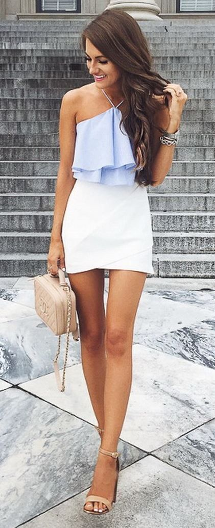 Trendy Summer Caual Style Outfit Top Skirt Bag Heels