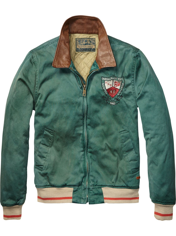 Baseball Jacket With Leather Collar   Mens Clothing   Jackets at Scotch    Soda 935927ea136b