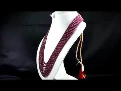 7 Strands Natural Red Ruby 723ct Faceted Oval Beads Gemstone Strings Nec...