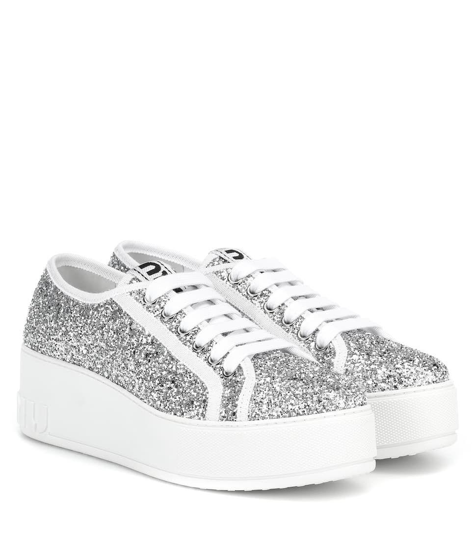 Miu Miu Donna Scarpe sneakers glitter con patch Le