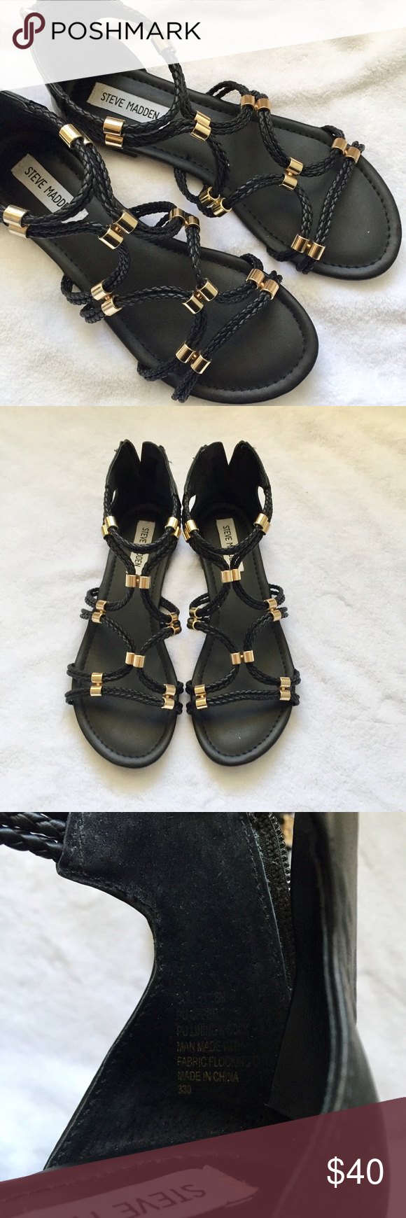 Steve Madden NWOT Black and Gold Flat Sandals Get ready for warmer weather with these super cute, brand new, never worn sandals! Ask if you have any questions! Steve Madden Shoes Sandals