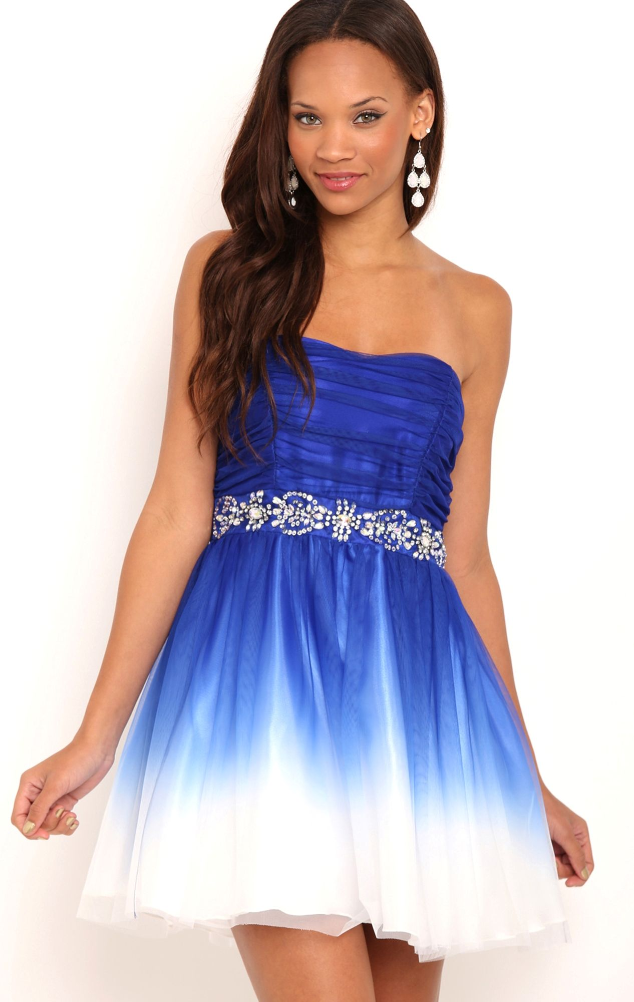Strapless short royal blue and white ombre dress with stone trim