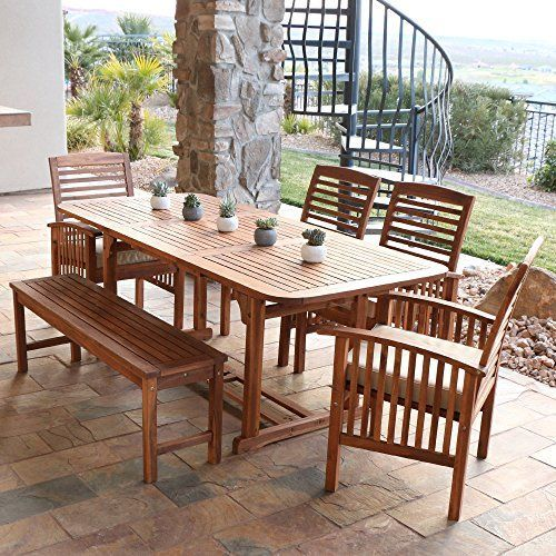 6 Piece Acacia Teak Wood Dining Set With Cushions It Includes A