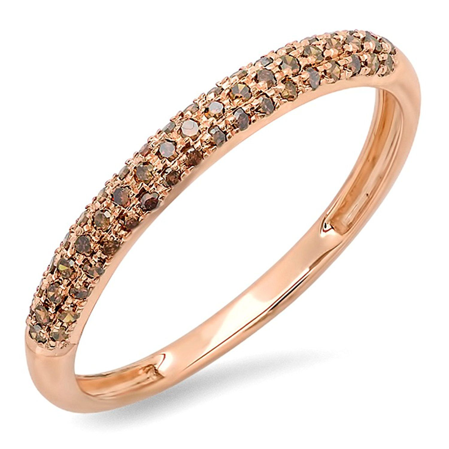 Carat Ctw Rose Gold Round Red Diamond Las Pave Anniversary Wedding Stackable Ring Ct See This Great Image Rings