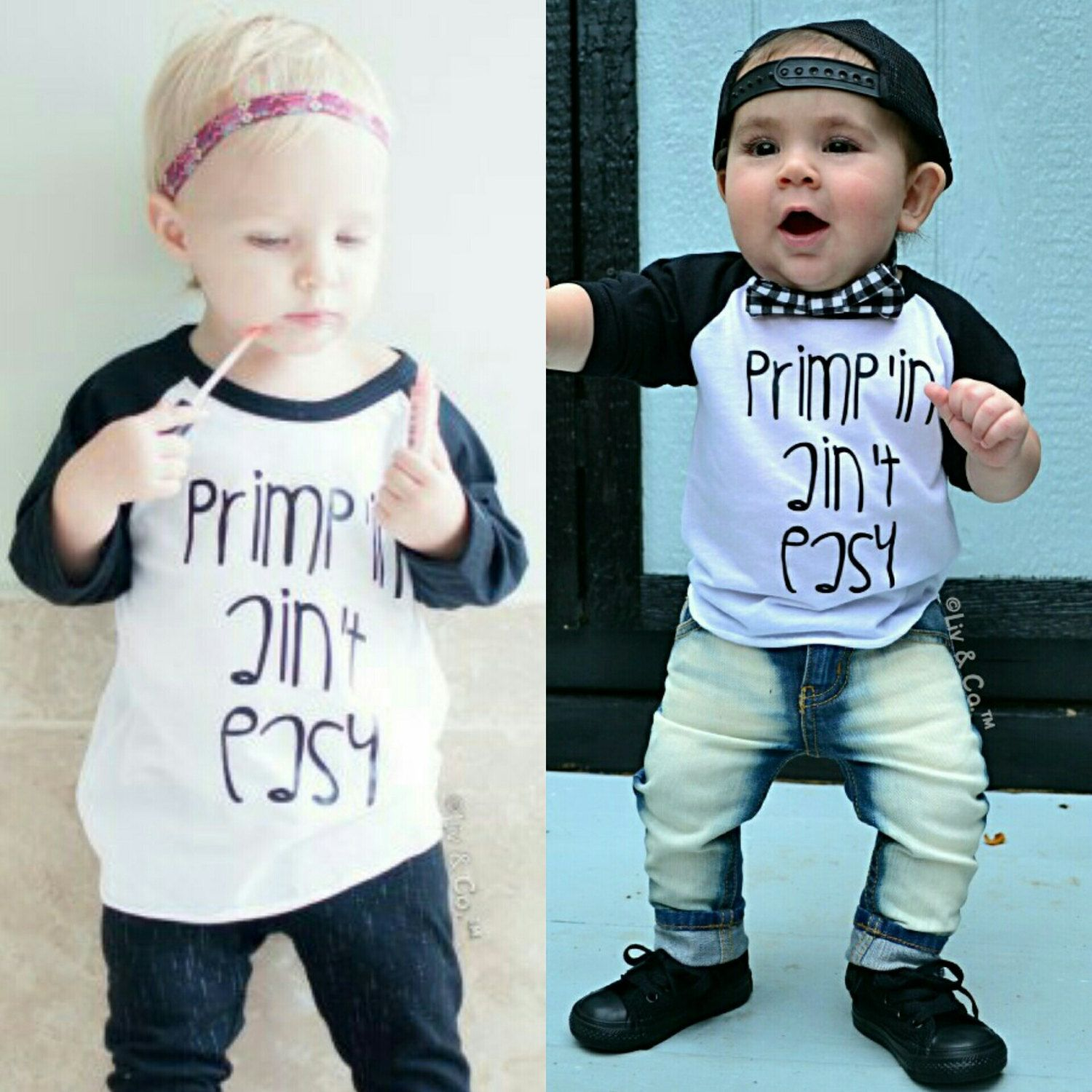 Primp'in Ain't Easy for girls👠💄 or boys 👔🎩 Snag this fab raglan in our shop! #Etsy #LivAndCo #Handmade