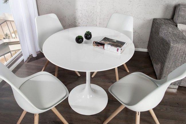Stylischer Esstisch SIGNUM 90cm rund aus Fiberglas weiß puristisch - runder küchentisch weiß