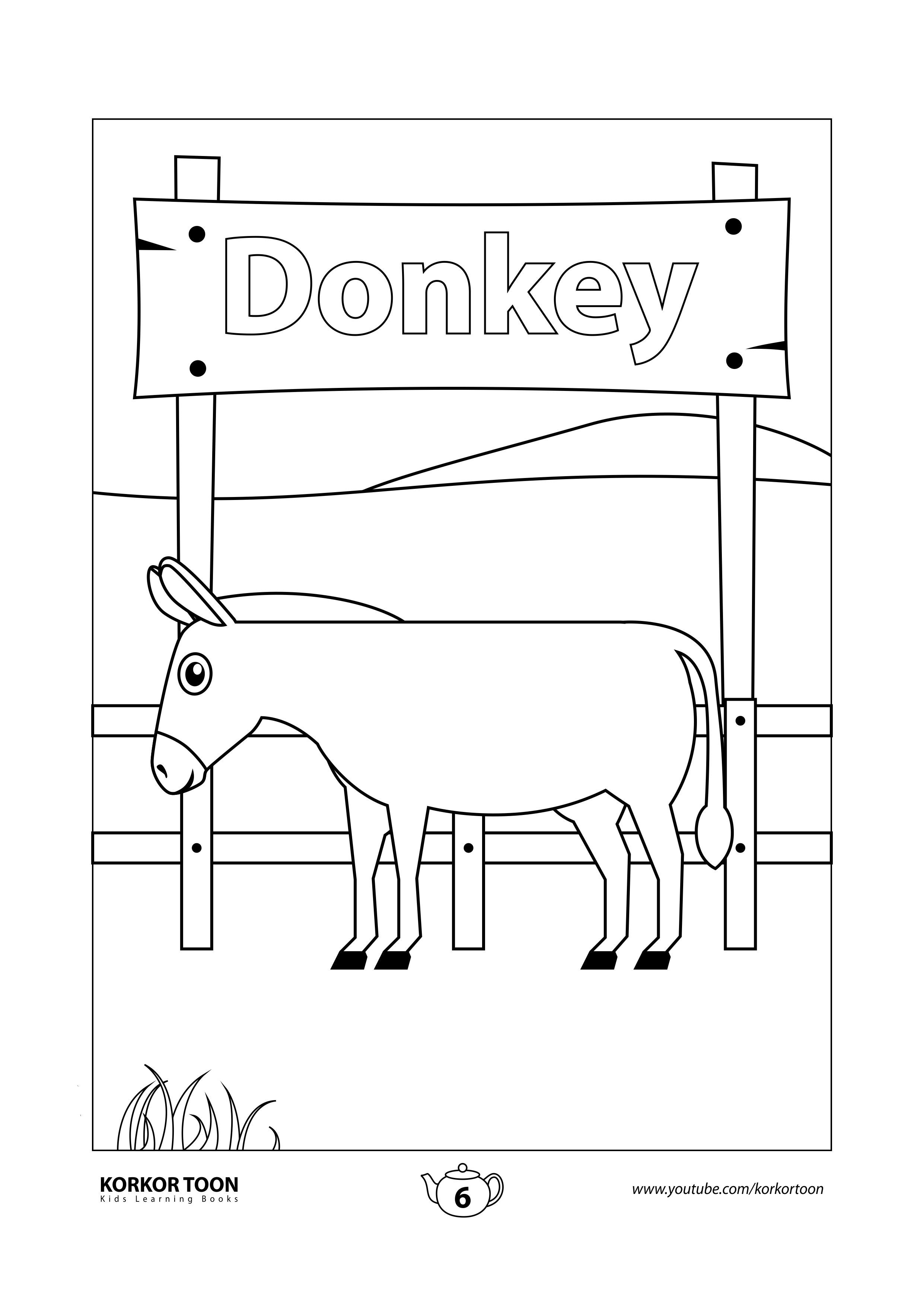 Donkey Coloring Page Farm Animals Coloring Book Animal Coloring Books Coloring Books Kids Coloring Books