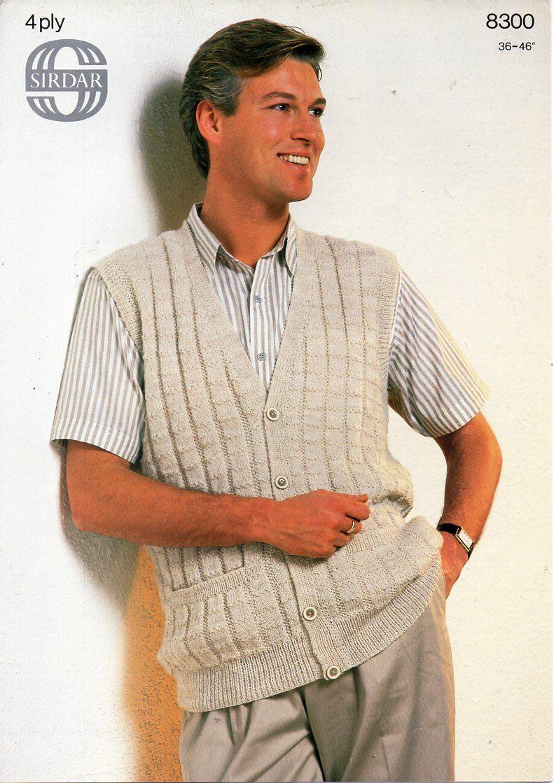 mens 4ply waistcoat knitting pattern pdf ribbed vest with pockets ...