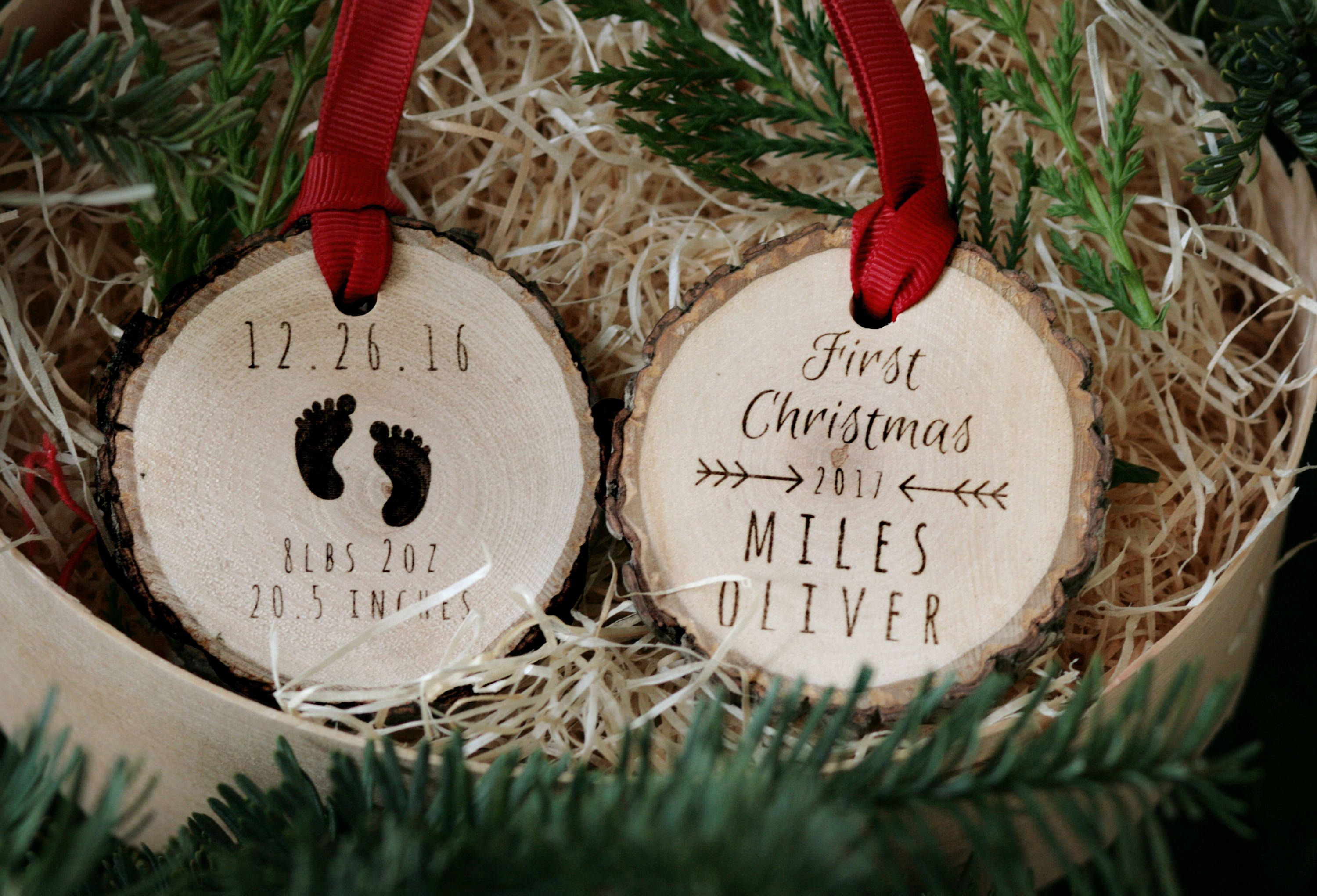 Baby S First Christmas Custom Wooden Ornament Etsy First Christmas Ornament Personalized Christmas Ornaments Unique Christmas Ornaments