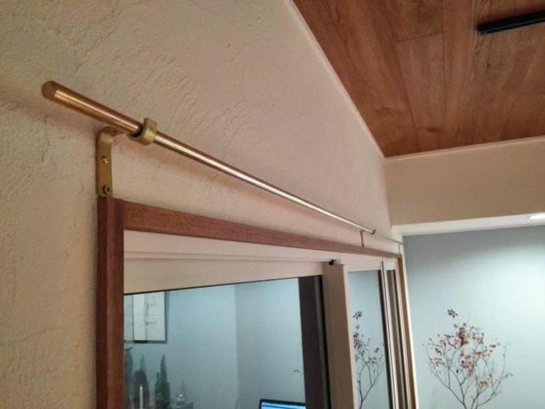 おしゃれ 真鍮カーテンレールを取り付けました リネンのカーテンの