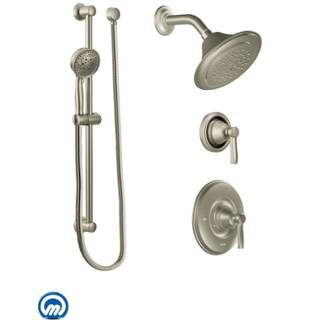 View the Moen 2035 Pressure Balanced Shower System with Shower Head, Integrated Volume Control, Diverter, and Hand Shower from the Rothbury Collection (Valves Included) at FaucetDirect.com.