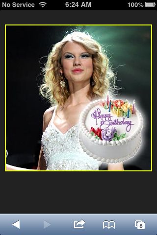 Taylor swift with a birthday cake is there something weird about that I WILL ANSWER THAT NO NO NO