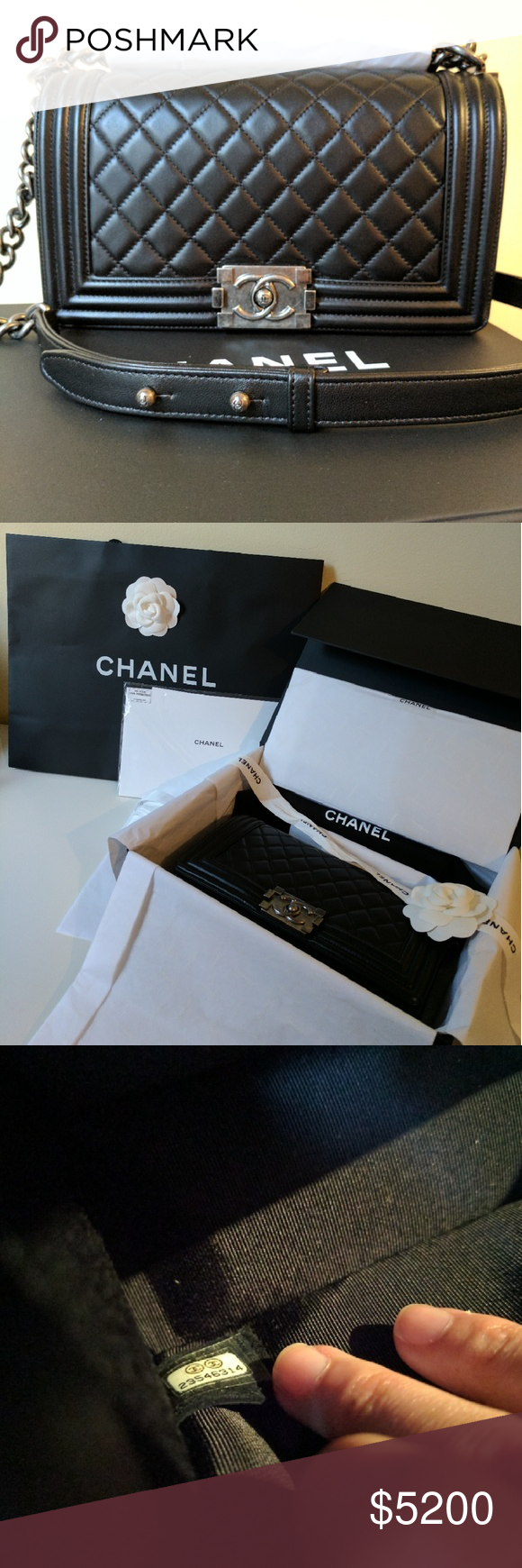 """Chanel Le Boy Old Medium Brand New, Chanel Le Boy Old Medium Bag with Ruthenium hardware. Calfskin. Dimensions"""" 9.8"""" X 3.1"""" X 5.7""""  Single chain drop 20"""", Double chain drop 11"""" Purchased in France November 2016.  All packaging included (bag with camellia, box, ribbons with camellia, authenticity card and care manual still in the plastic packaging untouched, and dust bag). Opening it will give you the satisfying experience of unboxing Chanel's new IT bag.  No trades. P and P negotiable. Local…"""