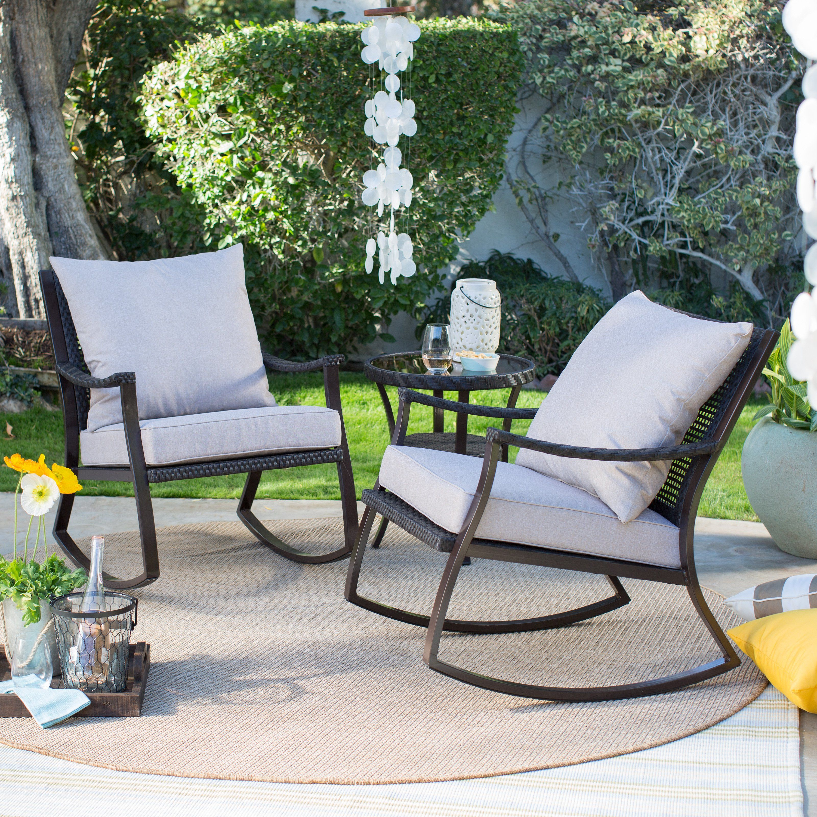 Coral Coast Losani All Weather Wicker Outdoor Rocking Chair Set