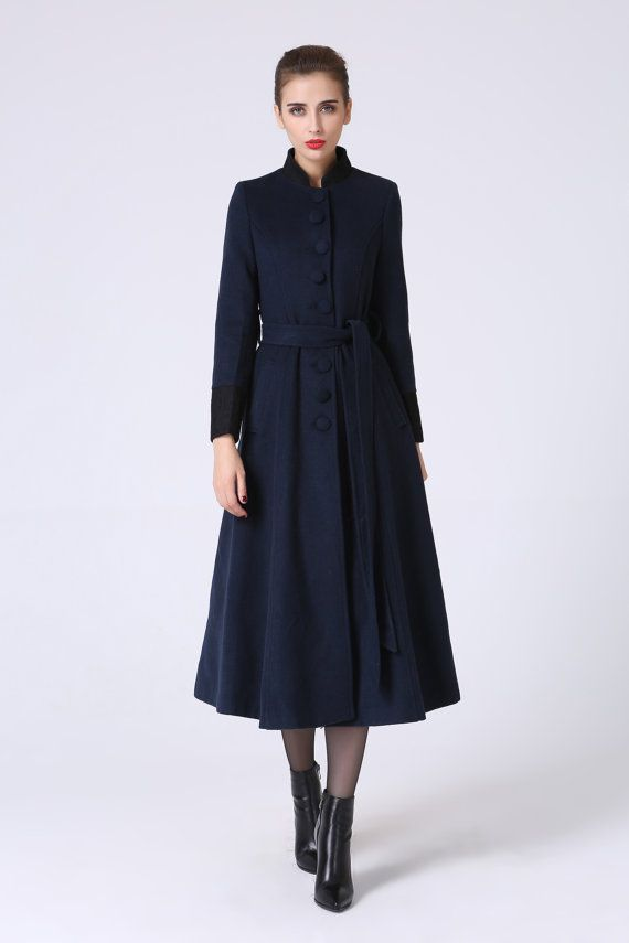 Long trench coat, navy coat, elegant coat, wool coat, warm coat ...